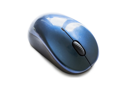 Wireless blue pc mouse on white background photo