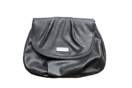 Classic black leather handbag on white background photo
