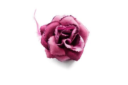 Pink velvet rose brooch isolated over white Stock Photo - 25947647