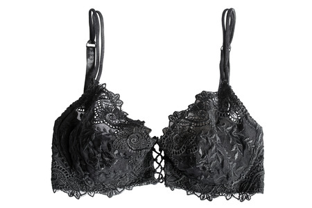 bra top: Black lacy bra isolated over white