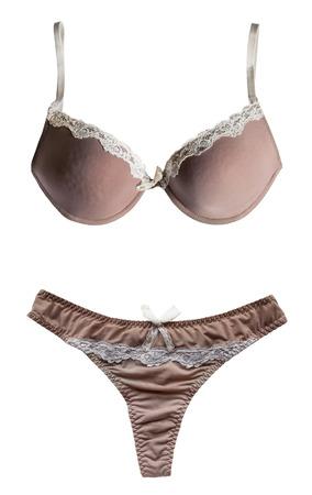 silky lingerie: Beige silky lingerie set isolated over white