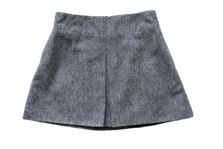 trapezoid: Gray tweed trapezoid skirt isolated on white