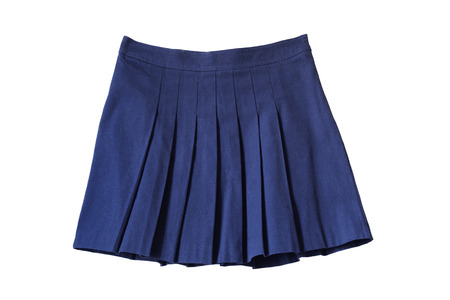 Blue pleated school uniform skirt on white background Stock Photo