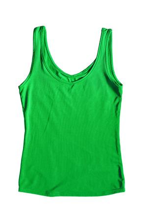 탱크 탑: Green silk tank top on white background