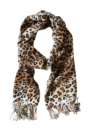 Warm scarf with leopard print on white background photo