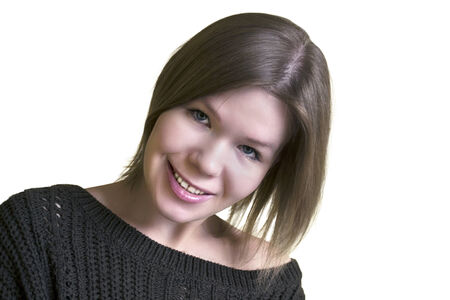 Portrait of young smiling woman isolated over white photo