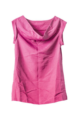 opalescent: Pink crumpled silk tunic isolated over white Stock Photo