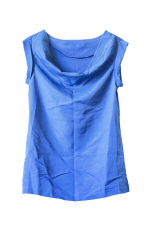 opalescent: Blue casual silk tunic on white background Stock Photo