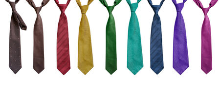 red tie: Set of neckties on white background Stock Photo