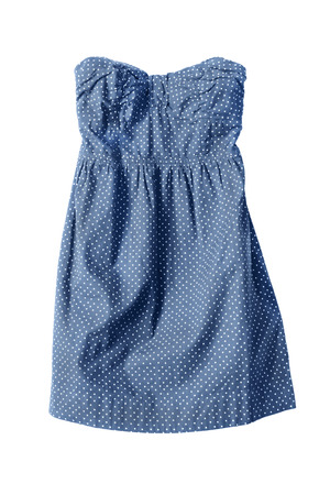 strapless: Blue cotton strapless sundress on white background
