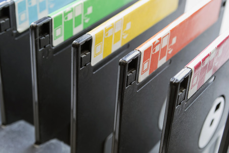 Group of floppy disks closeup as a background Stock Photo