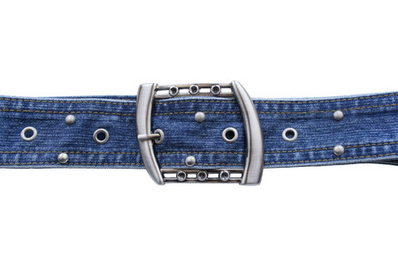 waistband: Jean belt with silver buckle and rivets on white