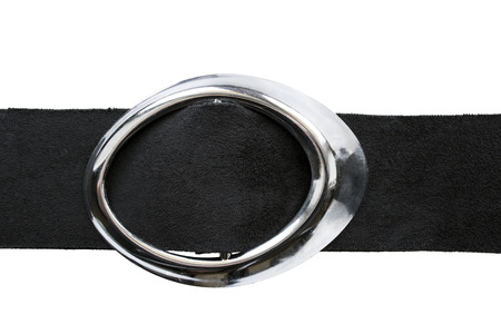 suede belt: Black suede belt with oval silver buckle isolated over white Stock Photo