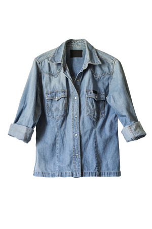 Classic jean shirt with rolled up sleeves isolated over white