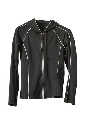 Sports black jacket with zipper on white background photo