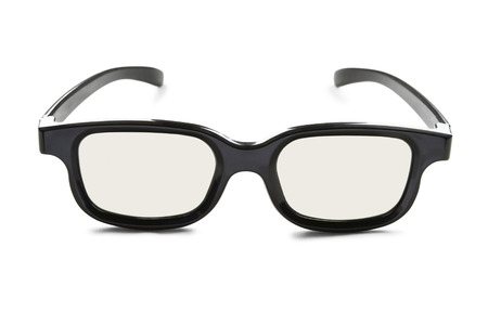 Black 3D eyeglasses isolated over white photo