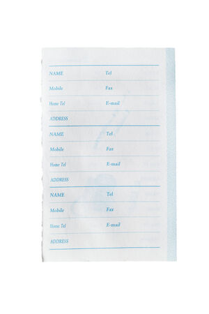 Blank sheet of phonebook on white background