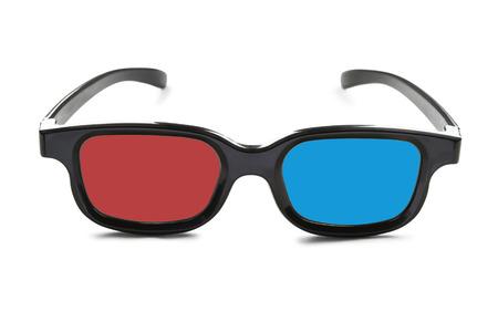 白地に赤と青のレンズで 3 D 眼鏡