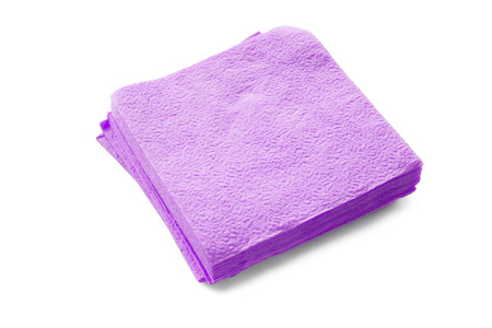 serviettes: Group of purple paper serviettes isolated over white Stock Photo