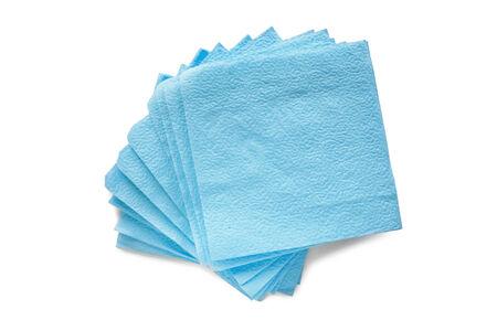 serviettes: Some blank blue paper serviettes on white background