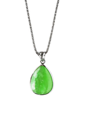nephritis: Silver chain with greenstone pendant isolated over white