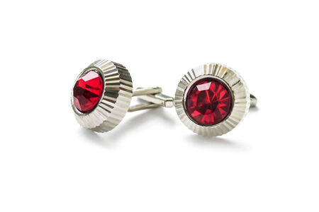 Vintage ruby cufflinks isolated over white photo