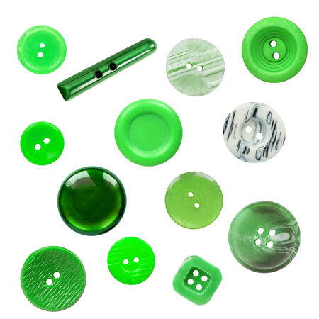 Set of various green buttons on white background photo
