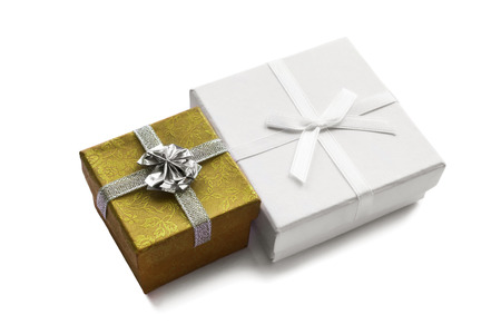Pair of different gift boxes isolated over white photo