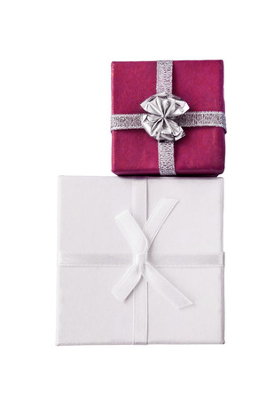 Pair of gift boxes isolated over white photo