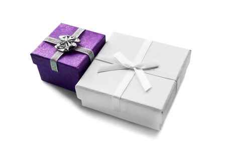 Pair of gift boxes on white background photo