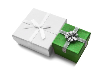 Green and white gift boxes isolated over white photo