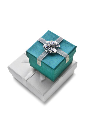 Two gift boxes on white background photo