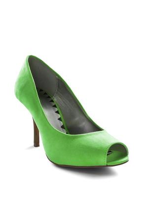 high heeled shoe: One velvet green high heeled shoe isolated over white Stock Photo