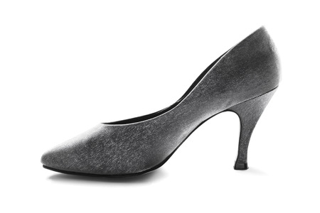high heeled shoe: Silk silver high heeled shoe isolated over white