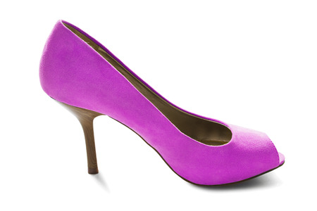 high heeled shoe: Pink velvet high heeled shoe on white background