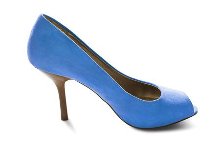 high heeled shoe: One blue velvet high heeled shoe on white background