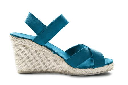 heeled: Wedge heeled blue textile sandal on white  Stock Photo