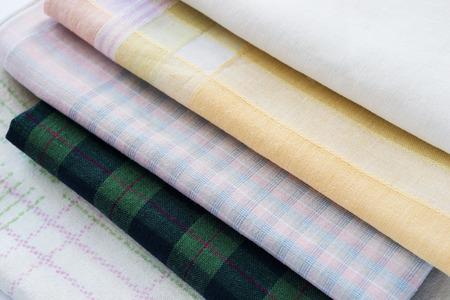 handkerchiefs: Some folded clean handkerchiefs closeup  Stock Photo
