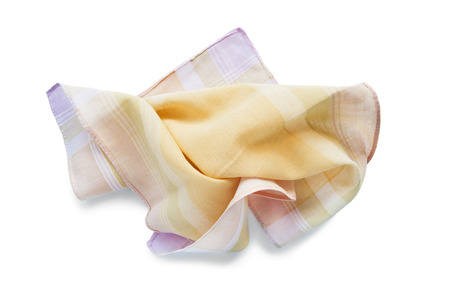 Crumpled cotton handkerchief on white