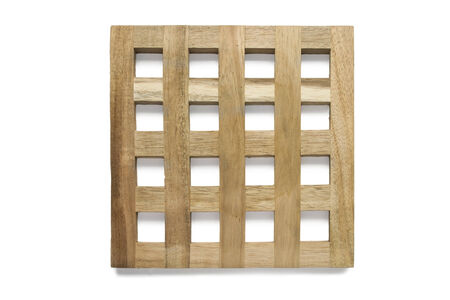 Wooden square rack isolated over white closeup photo