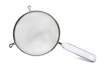 bolter: Domestic metal sieve on white background