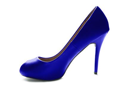 high heeled shoe: Elegant blue leather high heeled shoe isolated over white