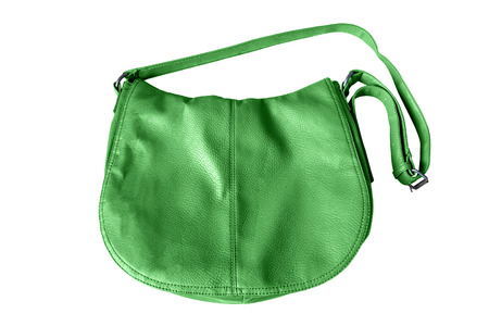 Green leather shoulder bag isolated over white photo