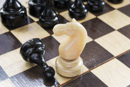 loss leader: White knight and black pawn on a chessboard closeup