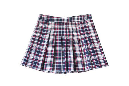 Pleated plaid school uniform skirt on white background photo