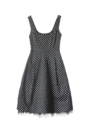 Vintage black with white dots dress on white background