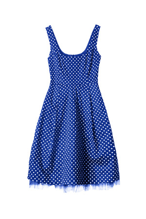 midi: Vintage blue with white dots dress isolated over white