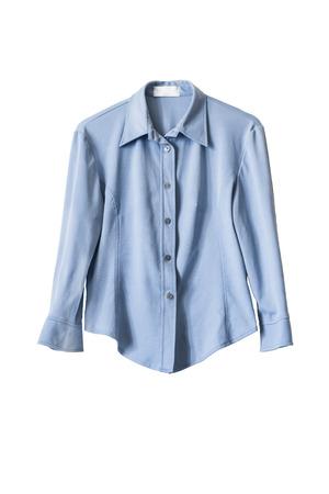 白で分離された青い絹オフィス ブラウス
