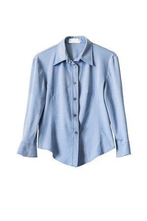 Blue silk office blouse isolated over white Stok Fotoğraf