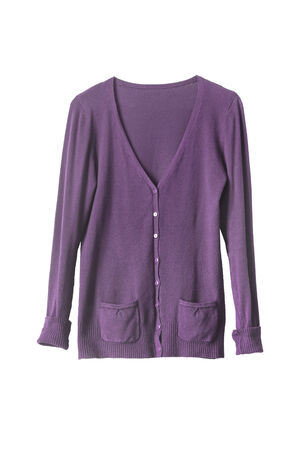 buttoned: Purple buttoned cardigan on white background